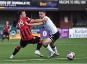 18 June 2021; Michael Duffy of Dundalk in action against Karl Chambers of Longford Town during the SSE Airtricity League Premier Division match between Dundalk and Longford Town at Oriel Park in Dundalk, Louth. Photo by Eóin Noonan/Sportsfile