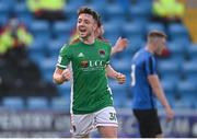 18 June 2021; Jack Baxter of Cork City celebrates after scoring his side's second goal during the SSE Airtricity League First Division match between Athlone Town and Cork City at Athlone Town Stadium in Athlone, Westmeath. Photo by Ramsey Cardy/Sportsfile