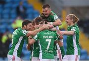 18 June 2021; Cork City players celebrate their second goal scored by Jack Baxter during the SSE Airtricity League First Division match between Athlone Town and Cork City at Athlone Town Stadium in Athlone, Westmeath. Photo by Ramsey Cardy/Sportsfile