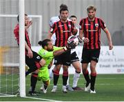 18 June 2021; Lee Steacy of Longford Town saves a goal bound header from Patrick Hoban of Dundalk during the SSE Airtricity League Premier Division match between Dundalk and Longford Town at Oriel Park in Dundalk, Louth. Photo by Eóin Noonan/Sportsfile
