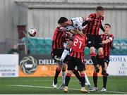 18 June 2021; Patrick Hoban of Dundalk has a header on goal saved by Lee Steacy of Longford Town during the SSE Airtricity League Premier Division match between Dundalk and Longford Town at Oriel Park in Dundalk, Louth. Photo by Eóin Noonan/Sportsfile