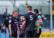 18 June 2021; Lorcan Fitzgerald of Wexford receives a yellow card from referee David Keeler during the SSE Airtricity League First Division match between Wexford and Shelbourne at Ferrycarrig Park in Wexford. Photo by Michael P Ryan/Sportsfile