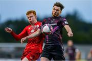 18 June 2021; Paul Cleary of Wexford in action against Shane Farrell of Shelbourne during the SSE Airtricity League First Division match between Wexford and Shelbourne at Ferrycarrig Park in Wexford. Photo by Michael P Ryan/Sportsfile