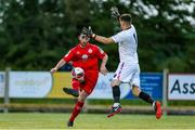 18 June 2021; Ryan Brennan of Shelbourne in action against Jimmy Corcoran of Wexford during the SSE Airtricity League First Division match between Wexford and Shelbourne at Ferrycarrig Park in Wexford. Photo by Michael P Ryan/Sportsfile