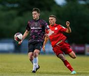 18 June 2021; Jack Larkin of Wexford in action against Dayle Rooney of Shelbourne during the SSE Airtricity League First Division match between Wexford and Shelbourne at Ferrycarrig Park in Wexford. Photo by Michael P Ryan/Sportsfile
