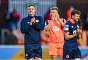 18 June 2021; Chris Forrester of St Patrick's Athletic, left, applauds supporters after the SSE Airtricity League Premier Division match between St Patrick's Athletic and Sligo Rovers at Richmond Park in Dublin. Photo by Harry Murphy/Sportsfile