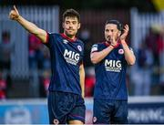 18 June 2021; Ronan Coughlan, right, and Lee Desmond of St Patrick's Athletic applaud supporters after their side's victory in the SSE Airtricity League Premier Division match between St Patrick's Athletic and Sligo Rovers at Richmond Park in Dublin. Photo by Harry Murphy/Sportsfile