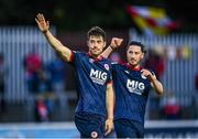 18 June 2021; Lee Desmond, left, and Ronan Coughlan of St Patrick's Athletic show their appreciation to supporters after the SSE Airtricity League Premier Division match between St Patrick's Athletic and Sligo Rovers at Richmond Park in Dublin. Photo by Harry Murphy/Sportsfile
