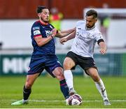 18 June 2021; Ronan Coughlan of St Patrick's Athletic in action against Greg Bolger of Sligo Rovers during the SSE Airtricity League Premier Division match between St Patrick's Athletic and Sligo Rovers at Richmond Park in Dublin. Photo by Harry Murphy/Sportsfile