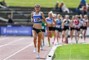 19 June 2021; Laura Mooney of Tullamore Harriers AC, Offaly, on her way to winning the Junior Women's 5000m during day one of the Irish Life Health Junior Championships & U23 Specific Events at Morton Stadium in Santry, Dublin. Photo by Sam Barnes/Sportsfile