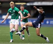 19 June 2021; Jamie Osborne of Ireland and Ollie Melville of Scotland contest for the ball during the U20 Six Nations Rugby Championship match between Scotland and Ireland at Cardiff Arms Park in Cardiff, Wales. Photo by Chris Fairweather/Sportsfile