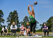 19 June 2021; Zoe Mohan of Cushinstown AC, Meath, competing in the Under 23 Women's Weight for Distance during day one of the Irish Life Health Junior Championships & U23 Specific Events at Morton Stadium in Santry, Dublin. Photo by Sam Barnes/Sportsfile