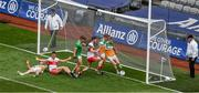 19 June 2021; Niall Darby of Offaly clears the ball on the line, but the goal that was signaled by the umpire was subsequently disallowed, during the Allianz Football League Division 3 Final match between Derry and Offaly at Croke Park in Dublin. Photo by Ray McManus/Sportsfile