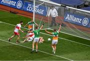 19 June 2021; Shane McGuigan of Derry appears to kick the ball into the goal only to have Niall Darby of Offaly clear the ball on the line, a goal was signaled by the umpire but was subsequently disallowed, during the Allianz Football League Division 3 Final match between Derry and Offaly at Croke Park in Dublin. Photo by Ray McManus/Sportsfile