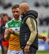 19 June 2021; Offaly manager John Maughan with Shane Horan after the Allianz Football League Division 3 Final match between between Derry and Offaly at Croke Park in Dublin. Photo by Ray McManus/Sportsfile