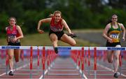20 June 2021; Eimear Kelly of City of Derry AC Spartans, Derry, on her way to winning the Junior Women's 100m Hurdles during day two of the Irish Life Health Junior Championships & U23 Specific Events at Morton Stadium in Santry, Dublin. Photo by Sam Barnes/Sportsfile
