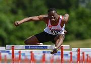20 June 2021; Valantinos Goularas of Crusaders AC, Dublin, on his way to winning the Under 23 Men's 110m Hurdles during day two of the Irish Life Health Junior Championships & U23 Specific Events at Morton Stadium in Santry, Dublin. Photo by Sam Barnes/Sportsfile