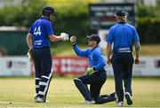 20 June 2021; Craig Young of North West Warriors and Lorcan Tucker of Leinster Lightning fist bump after the Cricket Ireland InterProvincial Trophy 2021 match between Leinster Lightning and North West Warriors at Pembroke Cricket Club in Dublin. Photo by Harry Murphy/Sportsfile