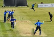 20 June 2021; Leinster Lightning players celebrate taking the wicket of Graham Hume of North West Warriors during the Cricket Ireland InterProvincial Trophy 2021 match between between Leinster Lightning and North West Warriors at Pembroke Cricket Club in Dublin. Photo by Harry Murphy/Sportsfile