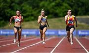 20 June 2021; Athletes, from left, Katie Monteith of City of Lisburn AC, Down, Lucy-May Sleeman of Leevale AC, Cork, and Jennifer Hanrahan of Tallaght AC, Dublin, competing in the Junior Women's 100m during day two of the Irish Life Health Junior Championships & U23 Specific Events at Morton Stadium in Santry, Dublin. Photo by Sam Barnes/Sportsfile