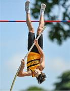 20 June 2021; Conor Callinan of Leevale AC, Cork, competing in the Junior Men's Pole Vault  during day two of the Irish Life Health Junior Championships & U23 Specific Events at Morton Stadium in Santry, Dublin. Photo by Sam Barnes/Sportsfile