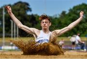 20 June 2021; Eoghan McGrath of Celbridge AC, Kildare, competing in the Junior Men's Long Jump during day two of the Irish Life Health Junior Championships & U23 Specific Events at Morton Stadium in Santry, Dublin. Photo by Sam Barnes/Sportsfile