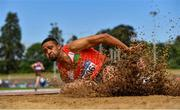20 June 2021; Jordan Cunningham of City of Lisburn AC, Down, competing in the Junior Men's Long Jump during day two of the Irish Life Health Junior Championships & U23 Specific Events at Morton Stadium in Santry, Dublin. Photo by Sam Barnes/Sportsfile