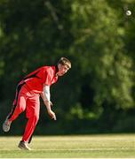 20 June 2021; Mitchell Thompson of Munster Reds bowls during the Cricket Ireland InterProvincial Trophy 2021 match between Northern Knights and Munster Reds at Pembroke Cricket Club in Dublin. Photo by Harry Murphy/Sportsfile
