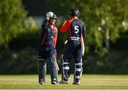 20 June 2021; John Matchett, left, and Neil Rock of Northern Knights celebrate after the Cricket Ireland InterProvincial Trophy 2021 match between Northern Knights and Munster Reds at Pembroke Cricket Club in Dublin. Photo by Harry Murphy/Sportsfile