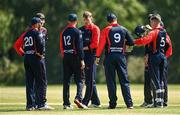 20 June 2021; Northern Knights players celebrate taking a wicket during the Cricket Ireland InterProvincial Trophy 2021 match between Northern Knights and Munster Reds at Pembroke Cricket Club in Dublin. Photo by Harry Murphy/Sportsfile