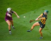 20 June 2021; Michelle Teehan of Kilkenny in action against Ailish O'Reilly of Galway during the Littlewoods Ireland Camogie League Division 1 Final match between Galway and Kilkenny at Croke Park in Dublin. Photo by Ramsey Cardy/Sportsfile