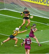 20 June 2021; Siobhán McGrath of Galway has a shot on goal despite the efforts of Meighan Farrell of Kilkenny during the Littlewoods Ireland Camogie League Division 1 Final match between Galway and Kilkenny at Croke Park in Dublin. Photo by Ramsey Cardy/Sportsfile