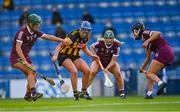 20 June 2021; Mary O'Connell of Kilkenny in action against Galway players, from left, Róisín Black, Emma Helebert, and Niamh McGrath during the Littlewoods Ireland Camogie League Division 1 Final match between Galway and Kilkenny at Croke Park in Dublin. Photo by Piaras Ó Mídheach/Sportsfile
