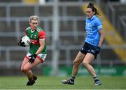 12 June 2021; Fiona McHale of Mayo in action against Hannah Tyrrell of Dublin during the Lidl Ladies National Football League Division 1 semi-final match between Dublin and Mayo at LIT Gaelic Grounds in Limerick. Photo by Piaras Ó Mídheach/Sportsfile