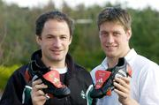 11 February 2004; Ireland out-halves David Humphreys, left, and Ronan O'Gara with customised adidas boots bearing a heart symbol for Valentines Day, the players will wear these boots for the Six Nations game between Ireland and France at the Stade de France on Saturday 14th, which is Valentines Day. The boots will then be auctioned in aid of the Irish Heart Foundation. Picture credit; Brendan Moran / SPORTSFILE *EDI*