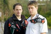 11 February 2004; Ireland out-halves David Humphreys, and Ronan O'Gara with customised adidas boots bearing a heart symbol for Valentines Day, the players will wear these boots for the Six Nations game between Ireland and France at the Stade de France on Saturday 14th, which is Valentines Day. The boots will then be auctioned in aid of the Irish Heart Foundation. Picture credit; Brendan Moran / SPORTSFILE *EDI*