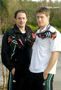 11 February 2004; Ireland out-halves David Humphreys, and Ronan O'Gara with customised adidas boots bearing a heart symbol for Valentines Day, the players will wear these boots for the Six Nations game between Ireland and France at the Stade de France on Saturday next, which is Valentines Day. The boots will then be auctioned in aid of the Irish Heart Foundation. Picture credit; Brendan Moran / SPORTSFILE *EDI*