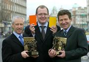 16 February 2004; Two of the most respected referees in Gaelic games, Pat O'Connor, left,  and Brian White, were today presented with the Vodafone GAA All-Star referees awards for 2003 by Enda Lynch, centre, Sponsorship Executive, Vodafone. Westin Hotel, Dublin. Picture credit; Ray McManus / SPORTSFILE *EDI*