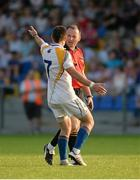 13 July 2013; Referee Padraig O'Sullivan and Longford player Shane Mulligan after the end of normal time. GAA Football All-Ireland Senior Championship, Round 2, Longford v Wexford, Glennon Brothers Pearse Park, Longford. Picture credit: Matt Browne / SPORTSFILE