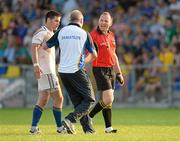 13 July 2013; Referee Padraig O'Sullivan, Longford's Shane Mulligan and manager Glenn Ryan after the end of normal time. GAA Football All-Ireland Senior Championship, Round 2, Longford v Wexford, Glennon Brothers Pearse Park, Longford. Picture credit: Matt Browne / SPORTSFILE