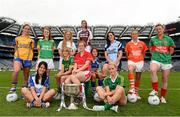 15 July 2013; Pictured at the launch are, from left to right, Emer Considine, Clare, Deirdre Foley, Donegal, Therese McNally, Monaghan, Maria Moolick, Kildare, Eileen Rahill, Meath, Ann Marie Walsh, Cork, Trina Durkan, Westmeath, Maggie Murphy, Laois, Sinead Goldrick, Dublin, Bernie Breen, Kerry, Mags McAlinden, Armagh, and Fiona McHale, Mayo. September 29th will be the 40th time that the final of the Senior Ladies Gaelic Football Final will be contested. The first final took place in October 1974 and was contested by Tipperary and Offaly in a game that was won by the Tipperary women. The most successful team in the history of the game are Kerry who have won the title on 11 occasions including an unprecedented 9-in-a-row. In recent years Cork have been the dominant force winning 7 of the last 8 titles. TG4 made the announcement that RefCam will be introduced to Irish Sport for the first time. The lightweight head mounted device will be a feature of TG4's live coverage of the 2013 Ladies Football Championship and will provide viewers with unique insight into the game but it will also be a hugely valuable coaching resource for referees. 2013 TG4 All-Ireland Ladies Football Championship Launch, Croke Park, Dublin. Picture credit: David Maher / SPORTSFILE
