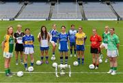 15 July 2013; Pictured at the launch of the 2013 TG4 Ladies Football Championship and RefCam announcement, are intermediate players, from left to right, Deirdre Ward, Leitrim, Etna Flanagan, Sligo, Anne O'Dwyer, Tipperary, Lucy Mulhall, Wicklow, Donna English, Cavan, Michelle McGrath, Waterford, Sharon Tracey, Longford, Niamh Warde, Roscommon, Sinead Fegan, Down, Tara Little, Fermanagh and  Emma McGuire, Limerick. September 29th will be the 40th time that the final of the Senior Ladies Gaelic Football Final will be contested. The first final took place in October 1974 and was contested by Tipperary and Offaly in a game that was won by the Tipperary women. The most successful team in the history of the game are Kerry who have won the title on 11 occasions including an unprecedented 9-in-a-row. In recent years Cork have been the dominant force winning 7 of the last 8 titles. TG4 made the announcement that RefCam will be introduced to Irish Sport for the first time. The lightweight head mounted device will be a feature of TG4's live coverage of the 2013 Ladies Football Championship and will provide viewers with unique insight into the game but it will also be a hugely valuable coaching resource for referees. 2013 TG4 All-Ireland Ladies Football Championship Launch, Croke Park, Dublin. Picture credit: David Maher / SPORTSFILE