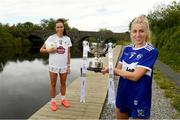 22 June 2021; Pictured on the bank of the River Barrow, which borders Laois and Kildare in Barrowhouse, Co. Laois, are captains Laura Nerney of Laois, right, and Grace Clifford of Kildare ahead of the Lidl Ladies National Football League Division 3 Final between Laois and Kildare, which will be played at Baltinglass GAA Club in Wicklow next Sunday. The game will be streamed LIVE on the Spórt TG4 YouTube Page. Photo by Matt Browne/Sportsfile