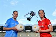 22 June 2021; Division 1 Final captains Sinead Aherne of Dublin, left, and Martina O'Brien of Cork in attendance during the Lidl Ladies National Football League Finals captains day at Croke Park in Dublin. The Lidl Ladies National Football League Division 1 & 2 Finals take place on Saturday, June 26, at Croke Park in Dublin. Kerry play Meath in the Division 2 Final at 5pm, followed by the Division 1 Final pairing of Cork and Dublin at 7.30pm. Both games will be shown live on TG4. Photo by Brendan Moran/Sportsfile