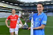 22 June 2021; Division 1 Final captains Sinead Aherne of Dublin, right, and Martina O'Brien of Cork in attendance during the Lidl Ladies National Football League Finals captains day at Croke Park in Dublin. The Lidl Ladies National Football League Division 1 & 2 Finals take place on Saturday, June 26, at Croke Park in Dublin. Kerry play Meath in the Division 2 Final at 5pm, followed by the Division 1 Final pairing of Cork and Dublin at 7.30pm. Both games will be shown live on TG4. Photo by Brendan Moran/Sportsfile