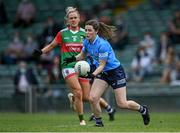 12 June 2021; Lyndsey Davey of Dublin gets past Fiona Doherty of Mayo during the Lidl Ladies National Football League Division 1 semi-final match between Dublin and Mayo at LIT Gaelic Grounds in Limerick. Photo by Piaras Ó Mídheach/Sportsfile