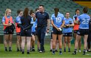 12 June 2021; Dublin manager Mick Bohan speaks to his players after their victory in the Lidl Ladies National Football League Division 1 semi-final match between Dublin and Mayo at LIT Gaelic Grounds in Limerick. Photo by Piaras Ó Mídheach/Sportsfile