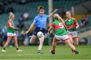12 June 2021; Lauren Magee of Dublin shoots under pressure from Eilish Ronayne of Mayo during the Lidl Ladies National Football League Division 1 semi-final match between Dublin and Mayo at LIT Gaelic Grounds in Limerick. Photo by Piaras Ó Mídheach/Sportsfile