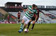 21 June 2021; Ronan Finn of Shamrock Rovers in action against Rob Cornwall of Bohemians during the SSE Airtricity League Premier Division match between Bohemians and Shamrock Rovers at Dalymount Park in Dublin. Photo by Seb Daly/Sportsfile