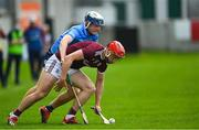 23 June 2021; TJ Brennan of Galway in action against Kevin Desmond of Dublin during the 2020 Bord Gáis Energy Leinster Under 20 Hurling Championship Final match between Dublin and Galway at Bord na Móna O'Connor Park in Tullamore, Offaly. Photo by Piaras Ó Mídheach/Sportsfile